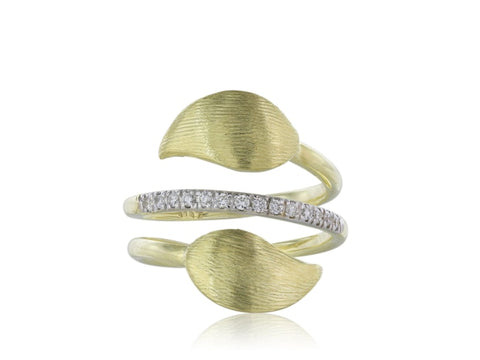 18Kt Yellow Gold Diamond Bypass Ring - Jewelry Boston