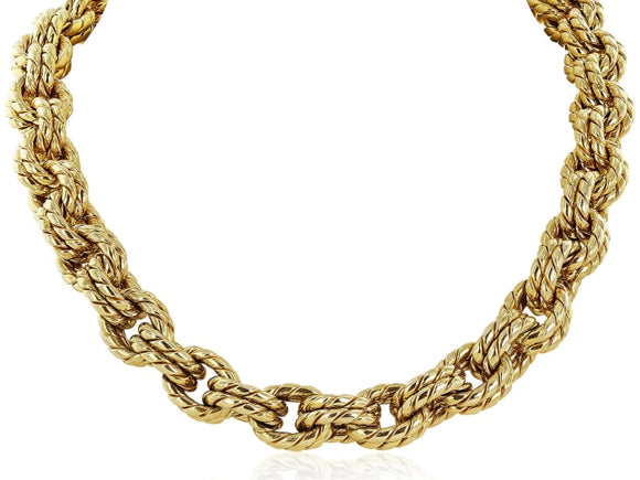 18Kt Yellow Gold Double Woven Necklace - Jewelry Boston