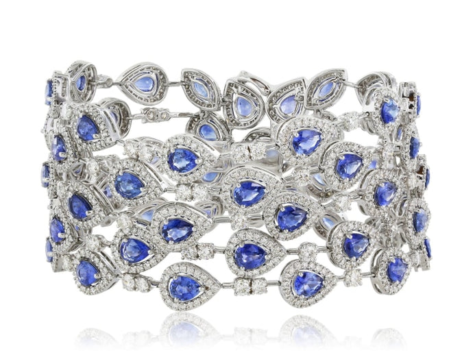 19.48 Carat Sapphire And Diamond Bracelet - Jewelry Boston