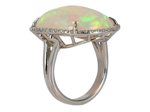 19.56ct Cabochon Fire Opal & Diamond Ring - Boston