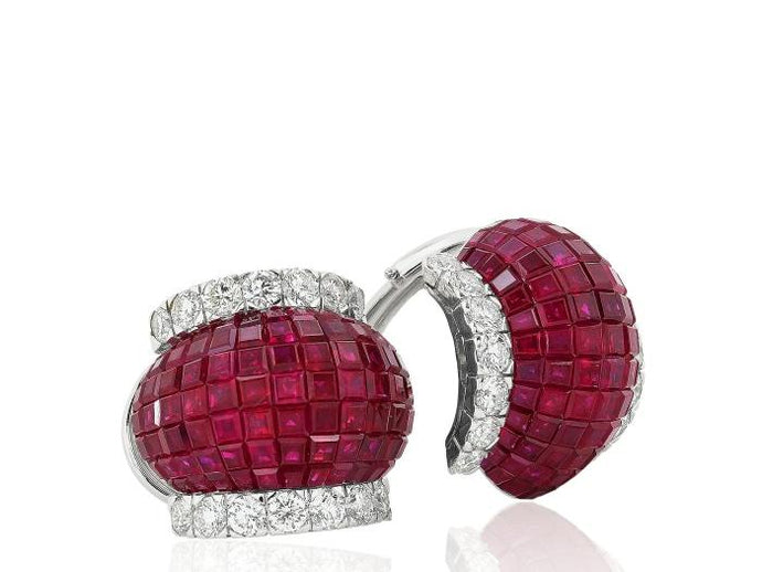 Invisible Set Ruby & Diamond Clip Earrings - Boston