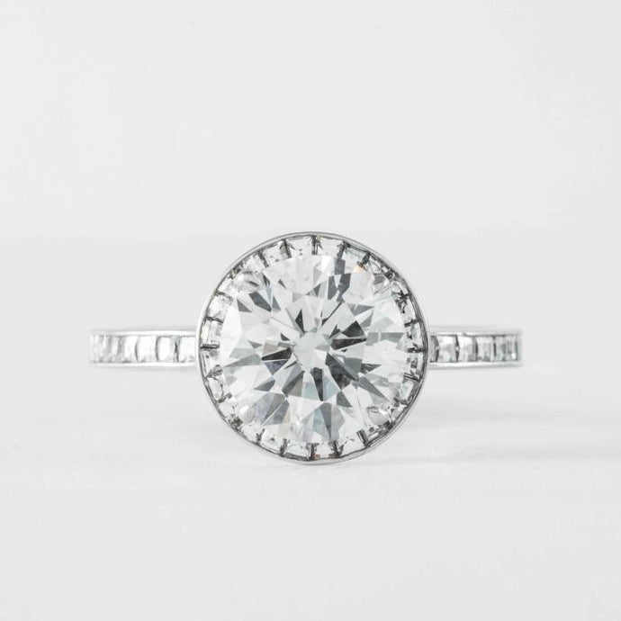 2.00 carat J SI1 Round Brilliant Cut Diamond and 18kt White Gold Ring - ENGAGEMENT Boston