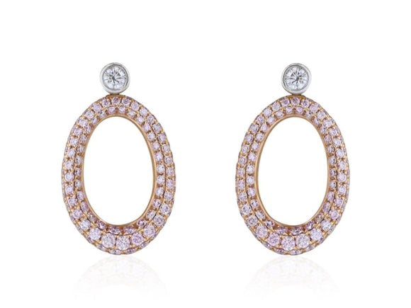 2.00 Carat Pink Diamond Oval Earrings (18K Rose Gold) - Jewelry Boston
