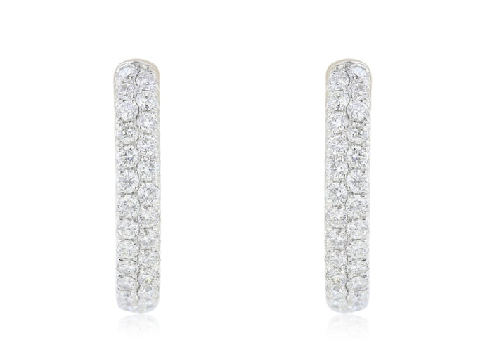 2.00ctw Pave Diamond Hoop Earrings (White Gold) - JEWELRY Boston