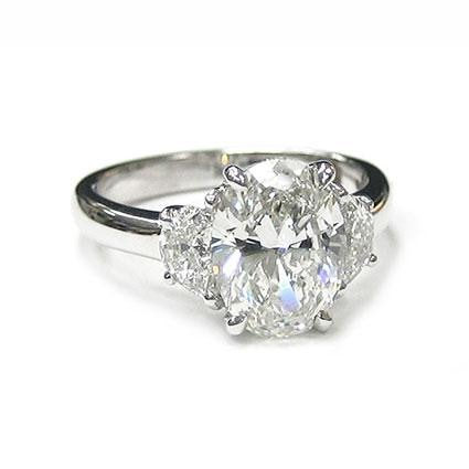 2.01 Carat Gia Certified Oval Diamond 3 Stone Engagement Ring - Jewelry Boston