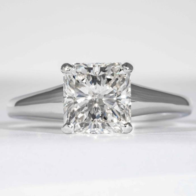 2.01 carat H SI1 Radiant Cut Diamond Solitaire Platinum Ring (GIA Certified) - Boston