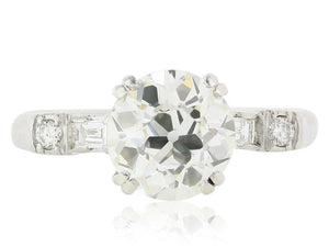 2.01 Carat Old Mine Cut Diamond Engagement Ring - Jewelry Boston