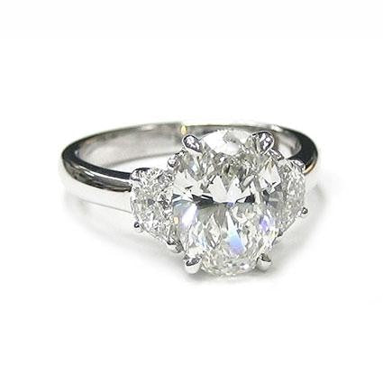 2.01 Carat Oval Cut 3 Stone Diamond Engagement Ring (18K White Gold) - Jewelry Boston