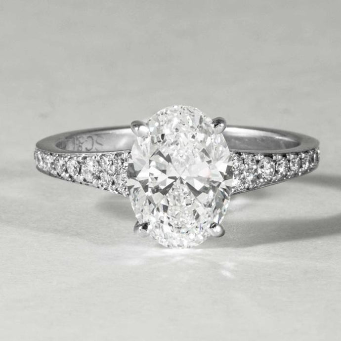 18 kt wg Oval Diamond 2.01 GIA F SI1 solitaire engagement ring. - Boston