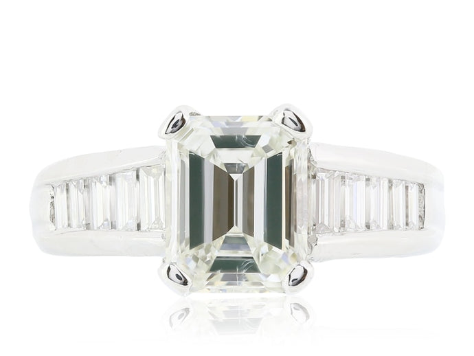 2.01ct Emerald Cut Diamond Ring (Platinum) - ENGAGEMENT Boston