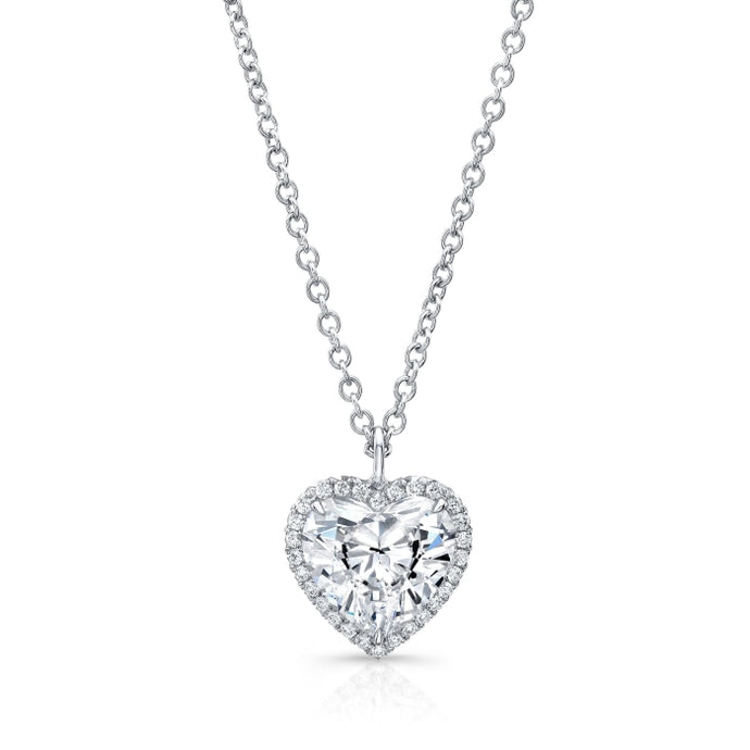 2.01ct Heart Shape Diamond Halo Pendant Necklace (GIA Certified White Gold) - Jewelry Designers Boston