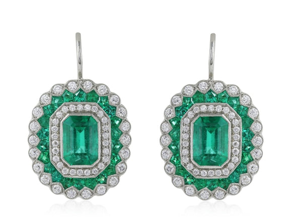 2.02 Carat Emerald & Diamond Drop Earrings (Platinum) - Jewelry Boston