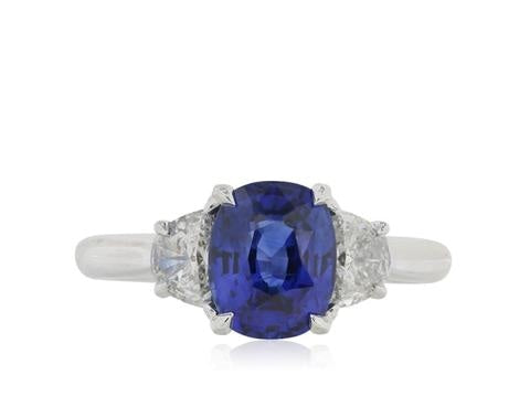 2.03 Carat Ceylon Royal Blue Sapphire 3-Stone Ring (GIA Certified White Gold) - JEWELRY Boston