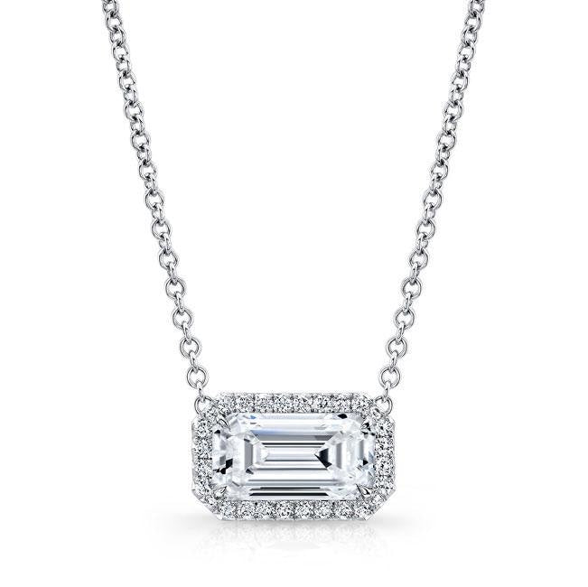 2.03 Carat Diamond Pendant Necklace (18K White Gold) - Jewelry Boston