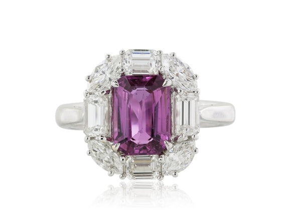 2.03 Carat No Heat Pink Sapphire Diamond Ring - Jewelry Boston