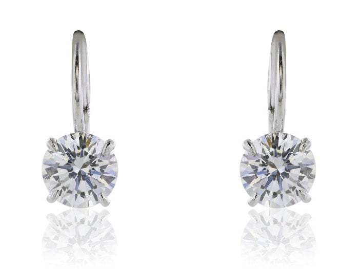 2.04 Carat Diamond Drop Earrings D / Si1 (Platinum) - Jewelry Boston