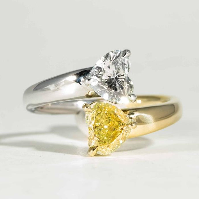 2.04 Carat Yellow & White Diamond Heart Shaped By Pass Ring - Boston