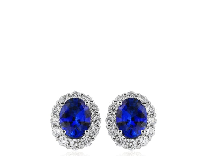 2.04 Carat Oval Cut Sapphire Earrings W/ Diamonds (18K White Gold) - Jewelry Boston
