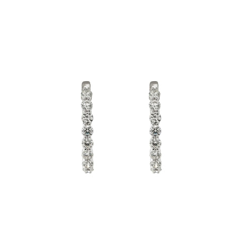 2.05ct Diamond Hoop Earrings (18k White Gold) - JEWELRY Boston