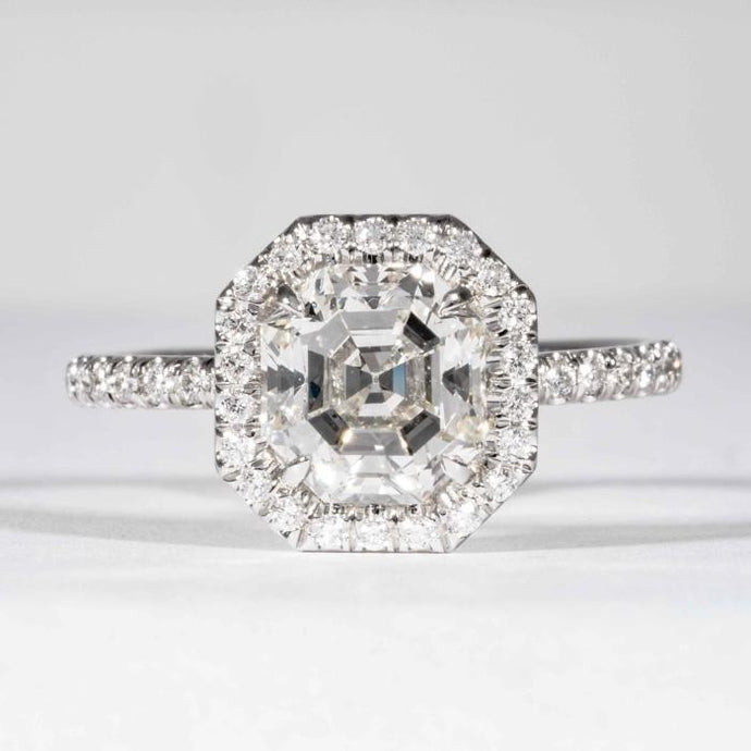 2.07 carat J SI1 Asscher Cut Diamond Platinum Halo Ring (GIA Certified) - ENGAGEMENT Boston