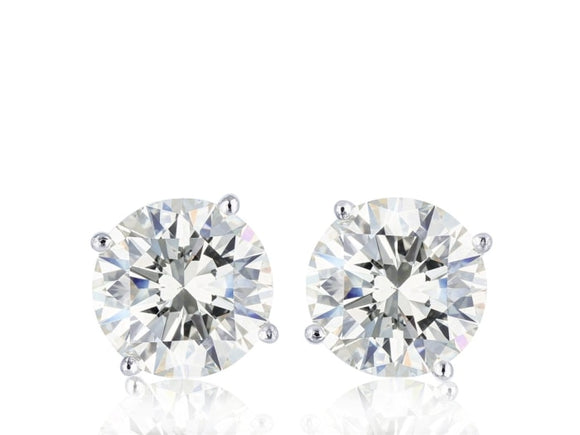 2.07 Carat Round Brilliant Cut Diamond Stud Earrings H / Si1 (14K White Gold) - Jewelry Boston