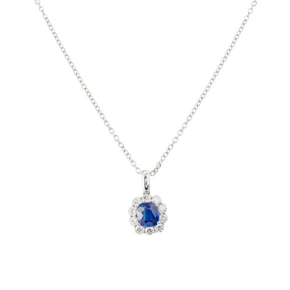 2.08ct Sapphire & Diamond Pendant (18k White Gold) - JEWELRY Boston