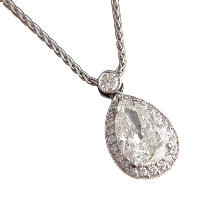 2.09ctw Pear Shaped Pendant Necklace (Platinum) - Jewelry Designers Boston