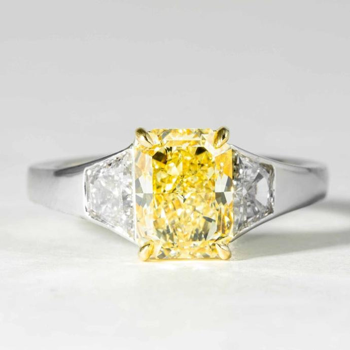 2.12 carat Fancy Light Yellow Radiant Cut Canary 3-Stone Diamond Ring (GIA Certified Two Tone) - ENGAGEMENT Boston