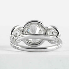 Load image into Gallery viewer, 2.13ct GIA 3 Stone Diamond Halo Ring GIA Cert I/VS2 - ENGAGEMENT Boston