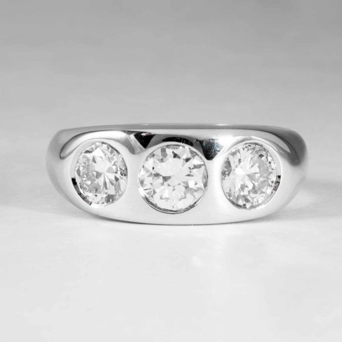 2.14CTW Round Bezel Set Diamond 3Stone Ring - Boston
