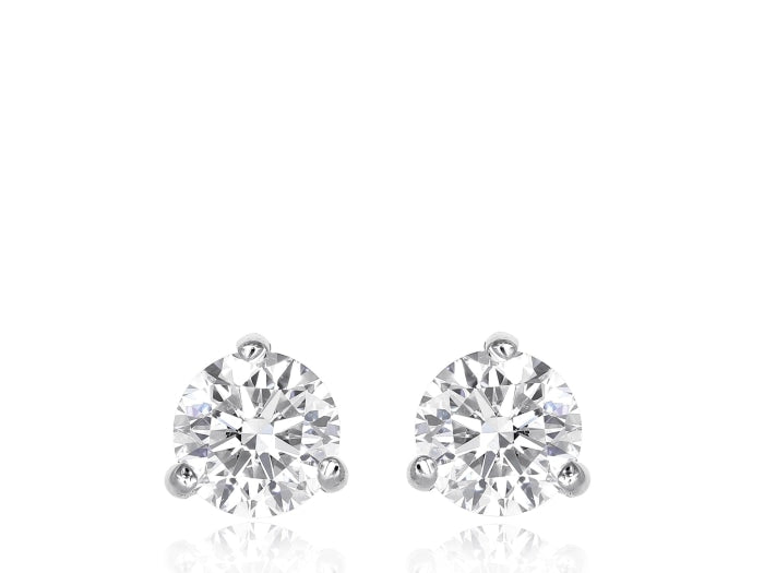 2.14ctw Round Brilliant Cut Diamond Stud Earrings (GIA Certified White Gold) - Jewelry Designers Boston