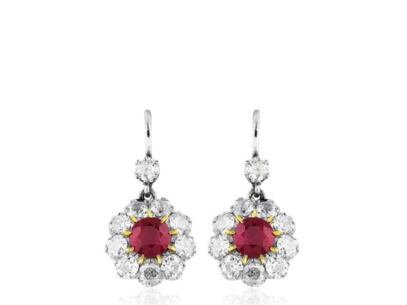 2.15 Carat Ruby And Diamond Drop Earrings (Platinum) - Jewelry Boston