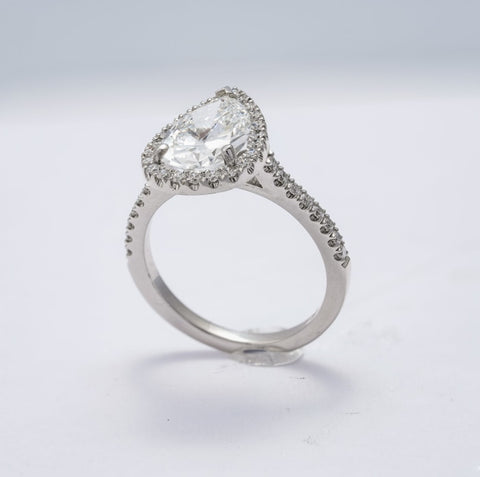 2.15ct Pear Shape Diamond Ring (GIA F/VS1 Platinum) - ENGAGEMENT Boston