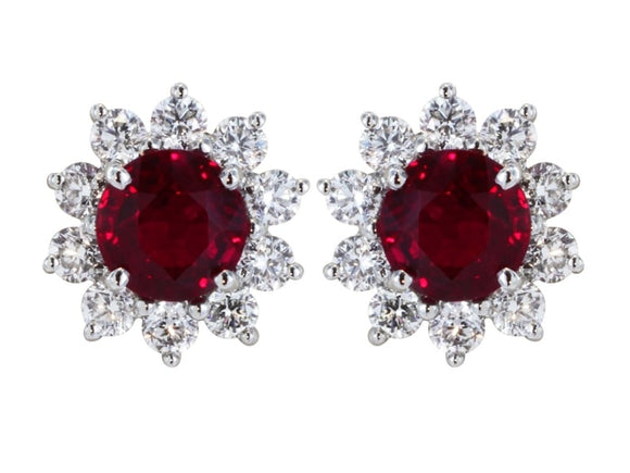 2.21 Carat Ruby And Diamond Cluster Earrings (18K White Gold) - Jewelry Boston