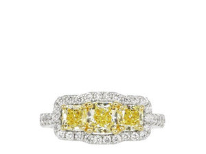 55444ccbde 2.21 Radiant Cut 3 Stone Halo Style Canary Diamond Ring (18K Yellow And  White Gold