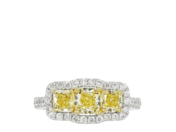 2.21 Radiant Cut 3 Stone Halo Style Canary Diamond Ring (18K Yellow And White Gold) - Jewelry Boston