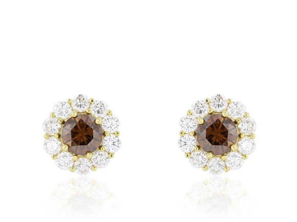2.22 Carat Brilliant Cut Cognac Diamond Stud Earrings (18K Yellow Gold) - Jewelry Boston