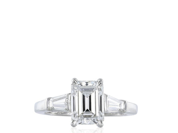 2.24 Carat Emerald Cut F / Vs1 Diamond Engagement Ring (Platinum) - Jewelry Boston