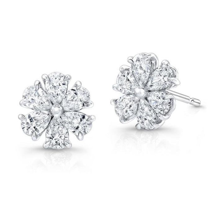 2.26ctw Pear Shape Diamond Flower Earrings White Gold) - Jewelry Designers Boston