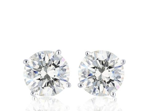 2.26 Carat Round Brilliant Cut Diamond Stud Earrings E / Si1-Si2 (18K White Gold) - Jewelry Boston