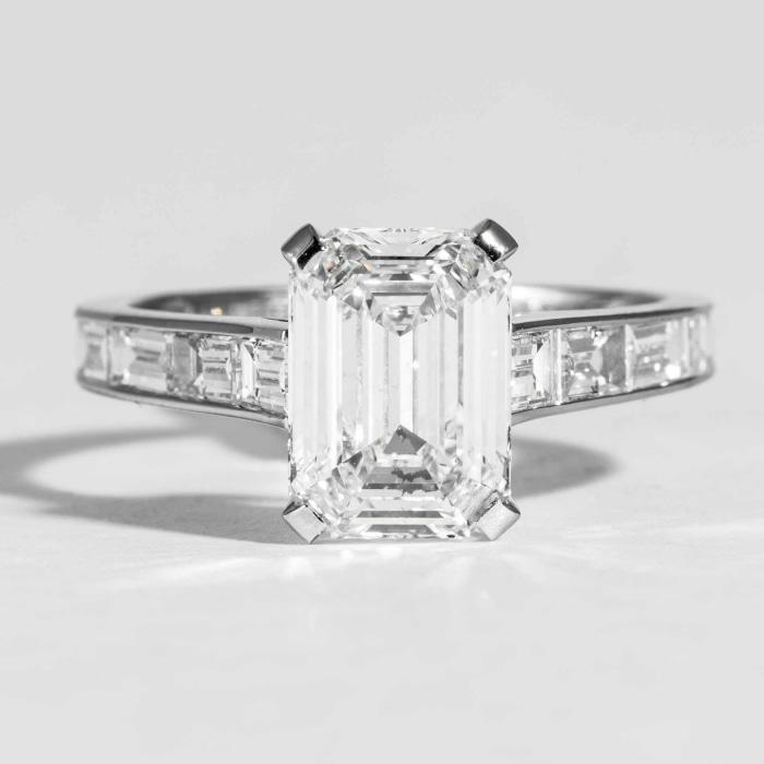 2.28 ct GIA D/VVS1 Emerald Cut Diamond GIA engagement ring flanked by baquette diamonds 1.20 cts Signed Graff - Boston