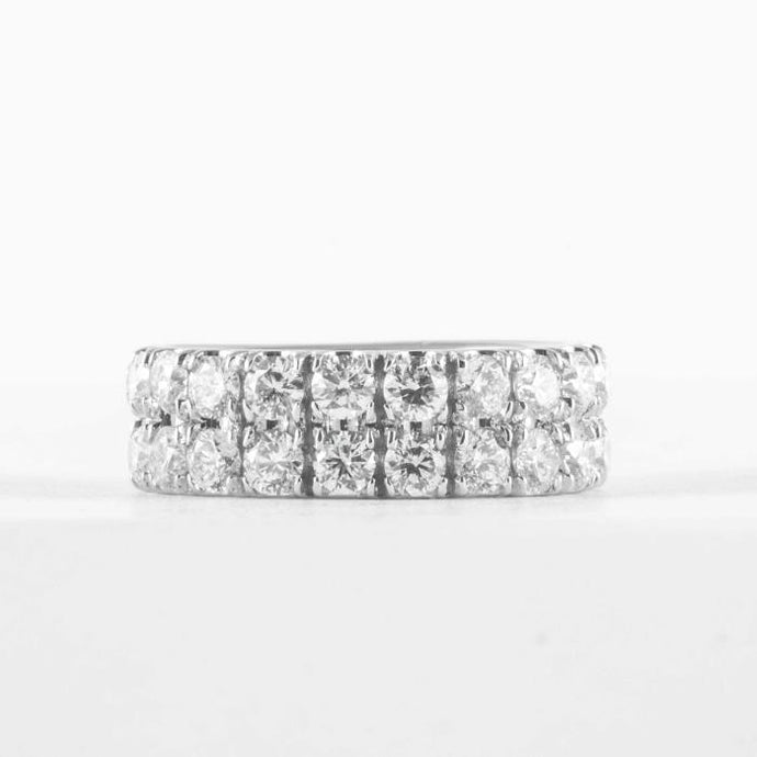 Custom Platinum Double Row Diamond Band - Boston