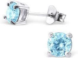 2.32CTW Round Aquamarine Stud Earrings - Boston