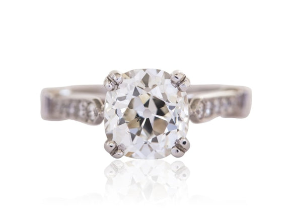 2.33 Carat Antique Cushion Cut Diamond Engagement Ring (Platinum) - Jewelry Boston