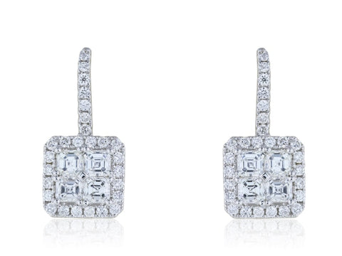2.33 Carat Asscher Cut Diamond Drop Earrings - Jewelry Boston