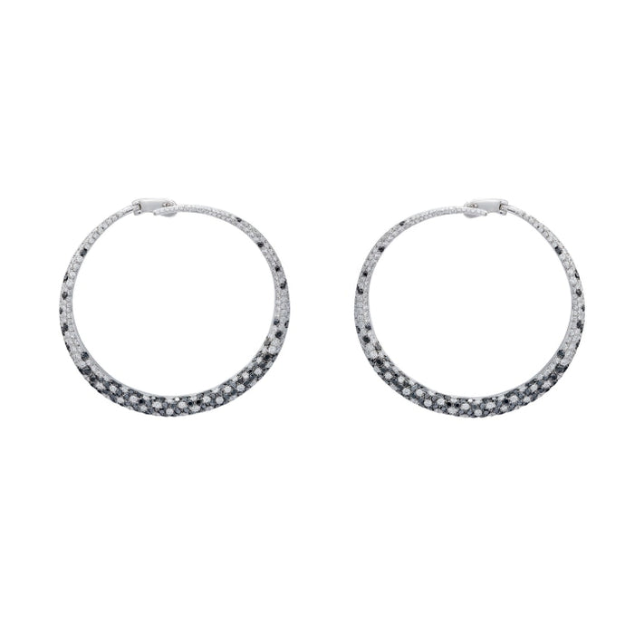2.34ct Round Black & White Diamond Hoop Earrings (White Gold) - JEWELRY Boston