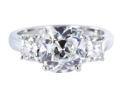 2.36 Carat Cushion Cut 3 Stone Diamond Engagement Ring (Platinum) - Jewelry Boston