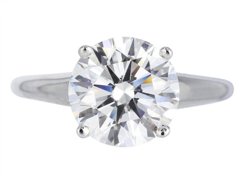 2.40 Carat Round Brilliant Cut Solitaire Diamond Engagement Ring (Platinum) - Jewelry Boston