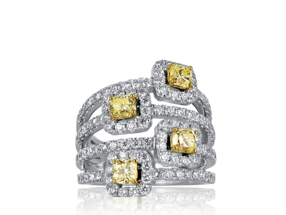 2.41 Carat Canary Diamond Cluster Spray Ring - Jewelry Boston