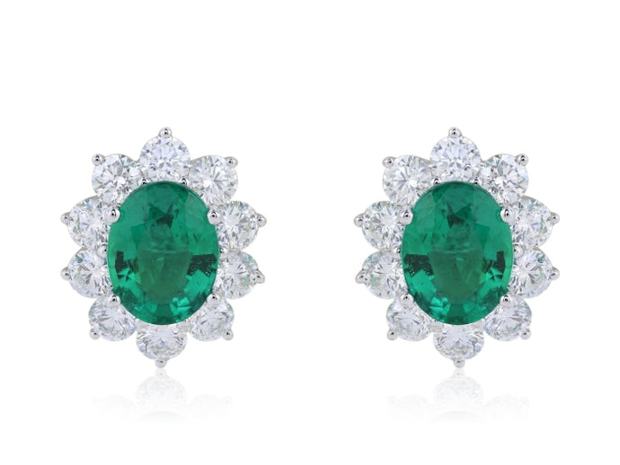 2.41ct Emerald & Diamond Earrings (White Gold) - JEWELRY Boston